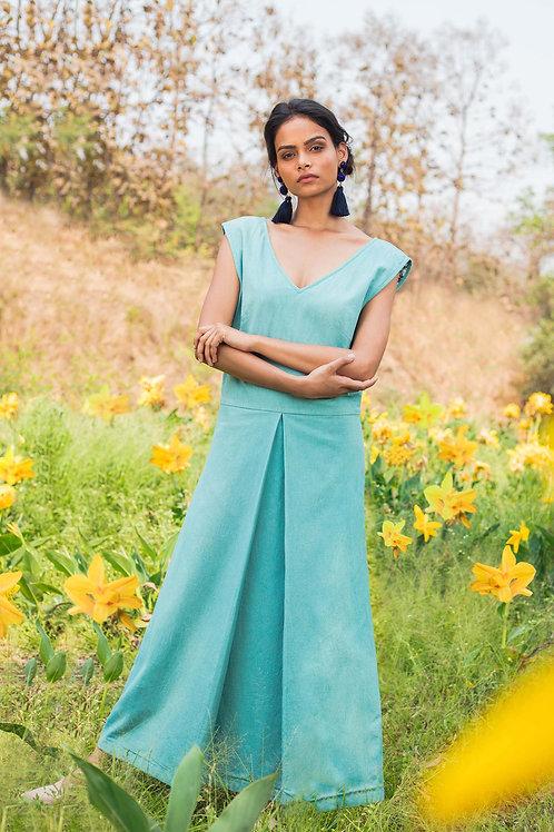 Blue Centre Pleat Dress