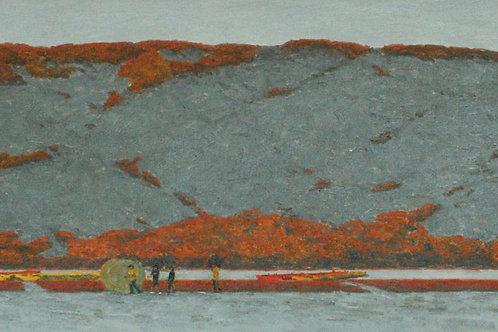 """Алла Полковниченко """"Осень во внутренней Монголии. Лодки на озере."""""""
