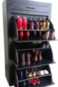 Cómoda zapatera de Afag Mueblerías Querétaro. Mueble ahorra espacio con repisas, cajonera para 27 pares de zapatos. Muebles Querétaro con diseño inovador