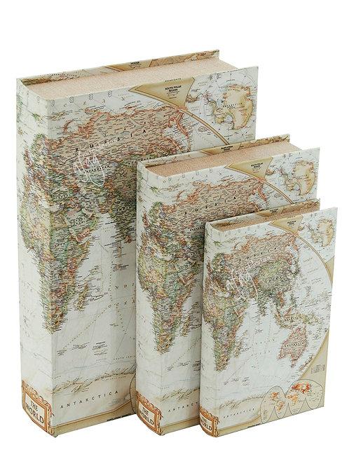 3 Libros - Cajas Decorativas Mapamundi