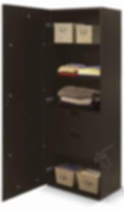 Tocador moderno con espejo de cuerpo completo. Closet moderno con  cajonera cómoda de repisas. Ideal para blancos