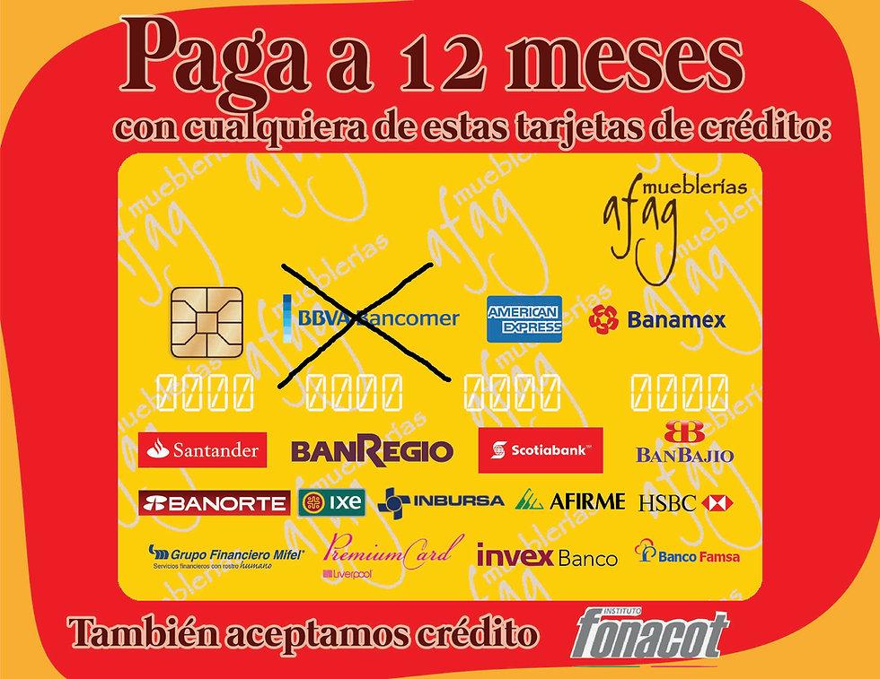 Afag Mueblerías Querétaro paga tus muebles a 12 meses sin inereses con american express, banorte, premium card, santander, banbajío, banamex. Tarjetas crédito y débito. Mueblerías e Querétaro