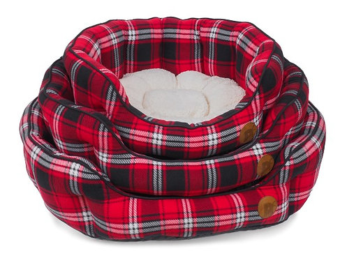 Fleece Tartan Check Bed Red/Black