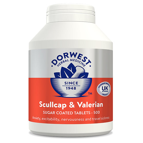 Dorwest Scullcap & Valerian for Dogs & Cats 100 Tablets