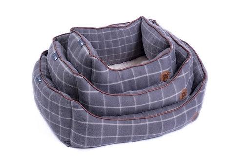 Grey Window Pane Check Fleece Bed