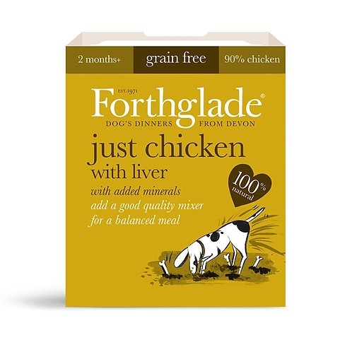 FORTHGLADE JUST CHICKEN & LIVER 90% MEAT GRAIN FREE 18 X 395G