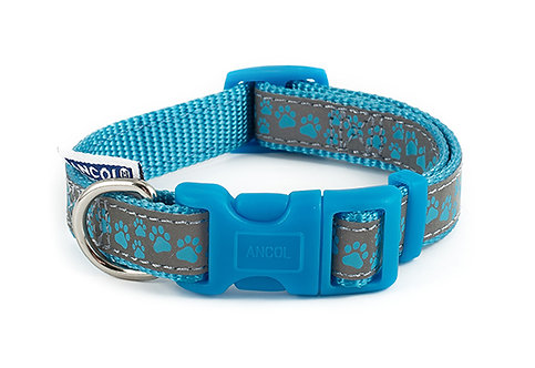 Ancol Reflective Blue Paw Dog Collars & Lead