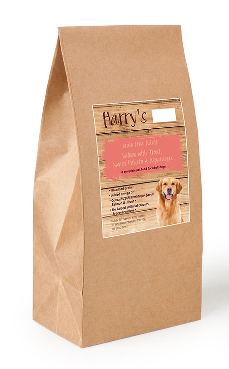 Harry's Grain Free Dog Food Salmon with Trout, Sweet Potato & Asparagus  2kg