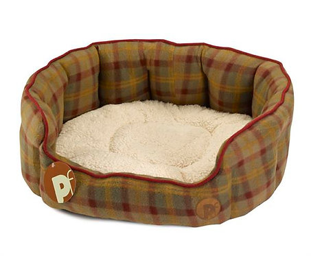 Country Check Fleece Dog Bed Oval