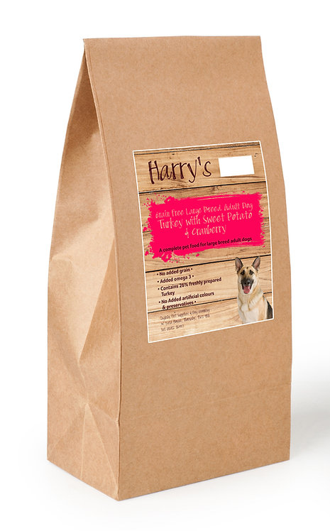 Harry's Grain Free Large Breed Dog Food Turkey with Sweet Potato & Cranberry 2kg