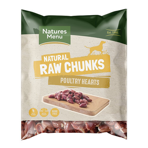 Natures Menu Natural Raw Poultry Heart Chunks 1kg