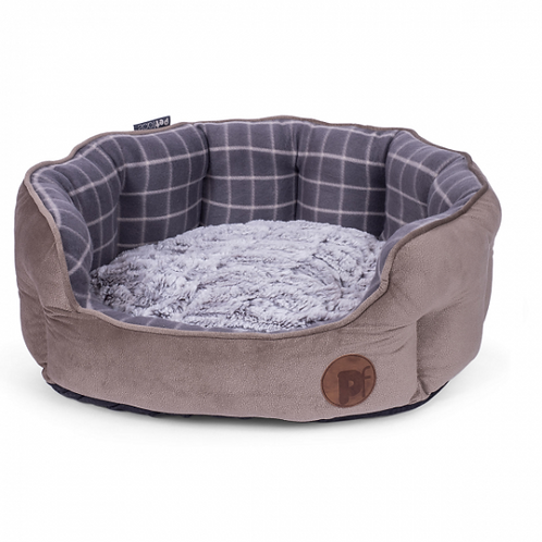 Grey Check & Bamboo Oval Bed