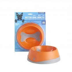 Oral Health Dog Bowl Orange Medium 23cm