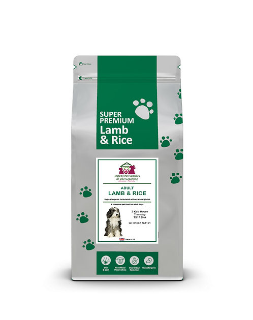 Ingleby Pet Supplies Super Premium Adult Dog Food Lamb & Rice 12kg