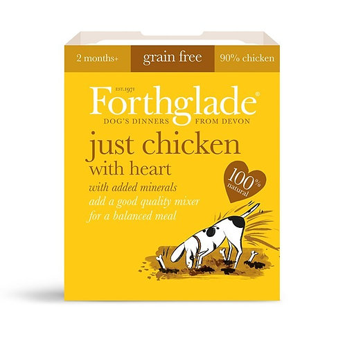 FORTHGLADE JUST CHICKEN & HEART 90% MEAT GRAIN FREE 18 X 395G