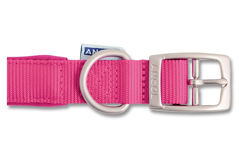 Ancol Padded Nylon Pink Dog Collar / Lead