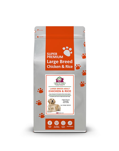 Ingleby Pet Supplies Super Premium Dog Food Large Breed  Chicken & Rice 12kg