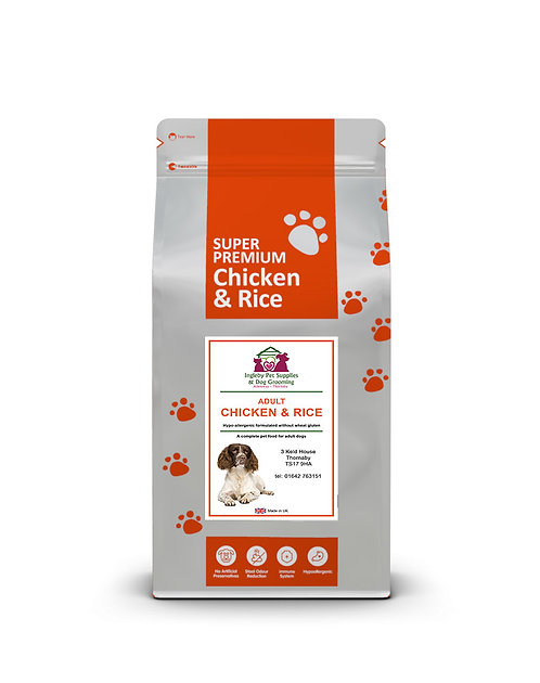 INGLEBY PET SUPPLIES SUPER PREMIUM ADULT DOG CHICKEN & RICE CUBES 2KG