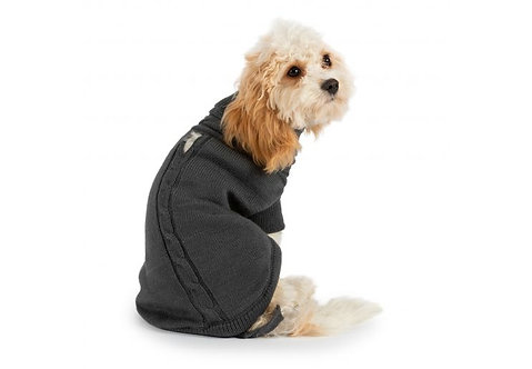 Ancol Cable Knit Dog Jumper Grey