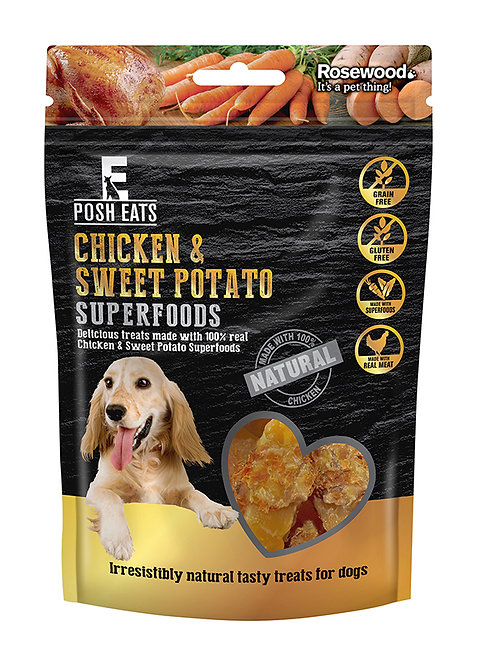 Posh Eats Chicken Wrapped Sweet Potato Superfoods Dog Treats 80g