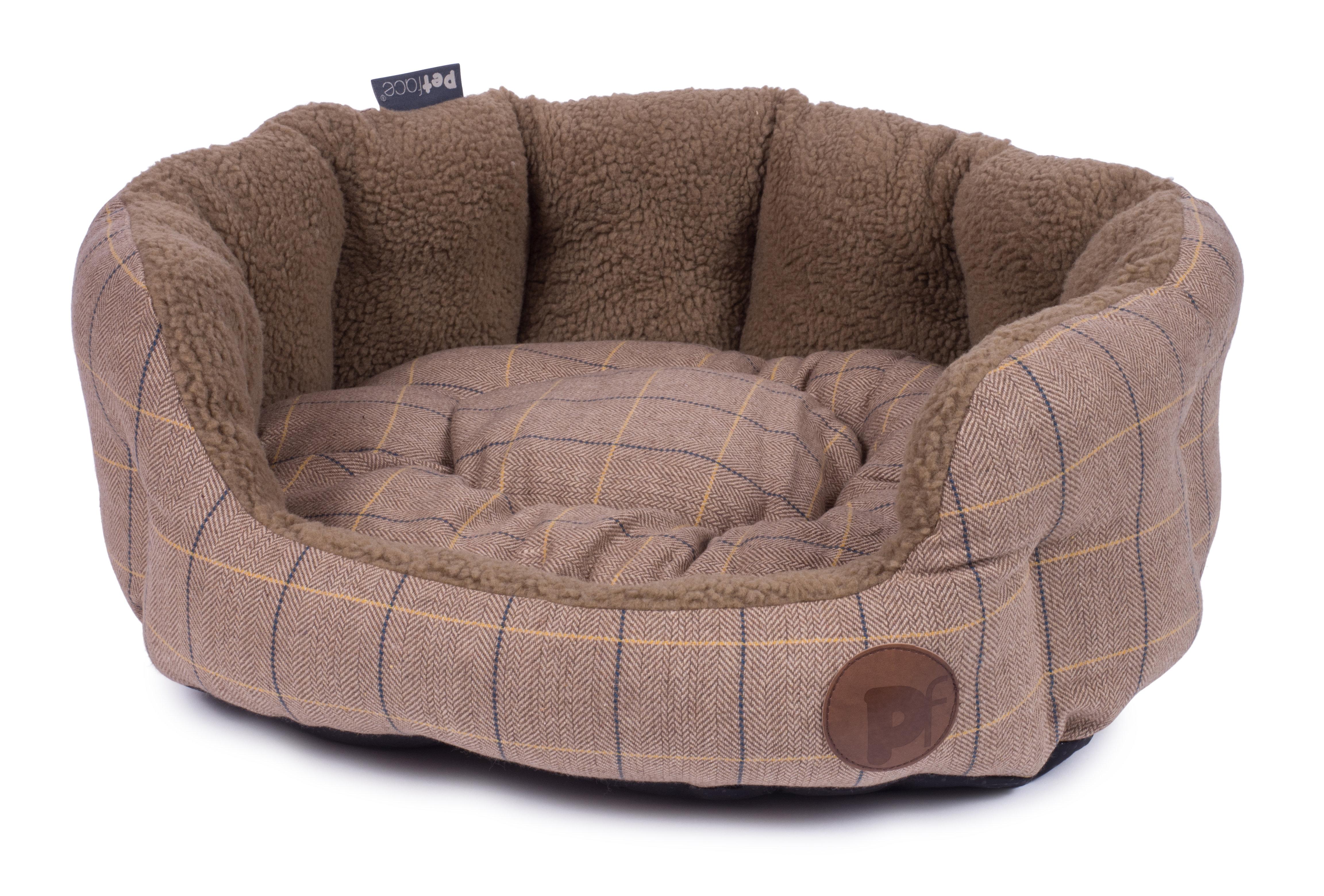 Tweed Oval Dog Bed Tan Ingleby Pet