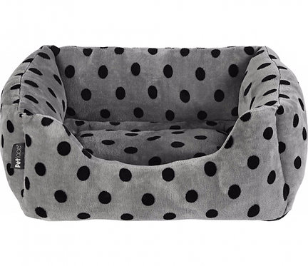 Grey & Black Dots Square Bed