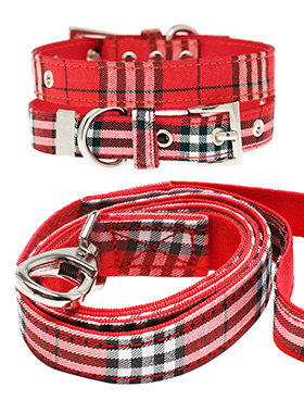Urban Pup Red Tartan Collar & Lead Set