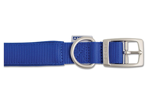 Ancol Padded Nylon Blue Dog Collar / Lead