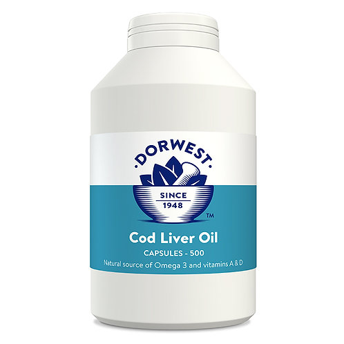 Dorwest Cod Liver Oil for Dogs & Cats 500 capsules.