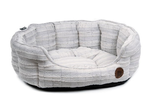 White Plush Oval Dog Bed