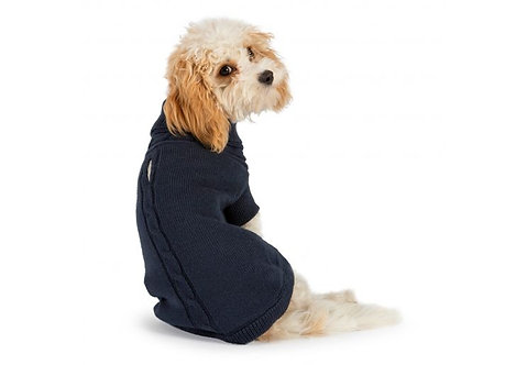 Ancol Cable Knit Dog Jumper Navy