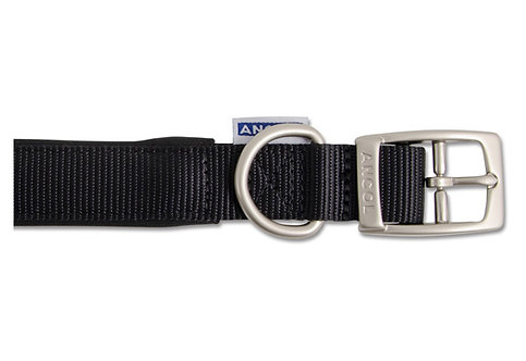 Ancol Padded Nylon Black Dog Collar / Lead