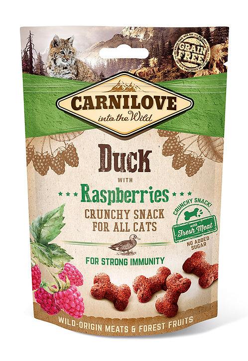 Carnilove Crunchy Cat Treats Duck with Raspberries 50g