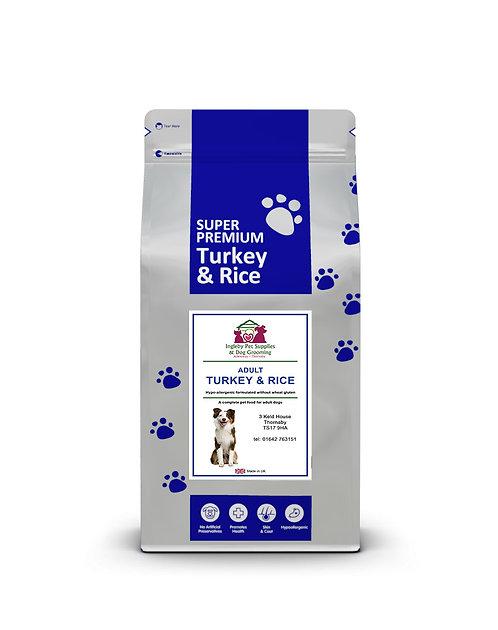 Ingleby Pet Supplies Super Premium Adult Dog Food Turkey & Rice 12kg