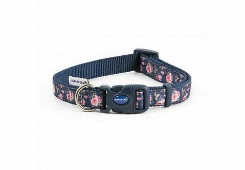 Ancol Navy Flowers Dog Collar & Lead