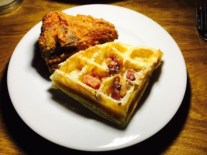Chicken withBacon and Cheddar Waffle