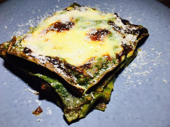 Lasagna Verde Spinach pasta, Short Rib and mushroom ragú fonduta, parmigiano-reggiano