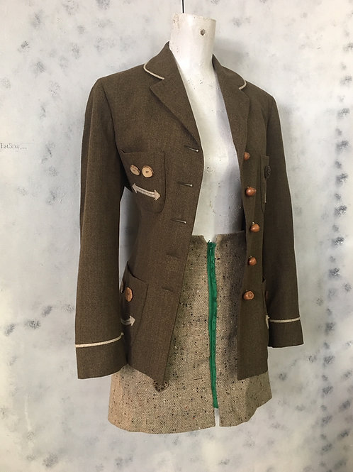 vintage MOSCHINO set 90s jacket ECOuture skirt wood wool smiley