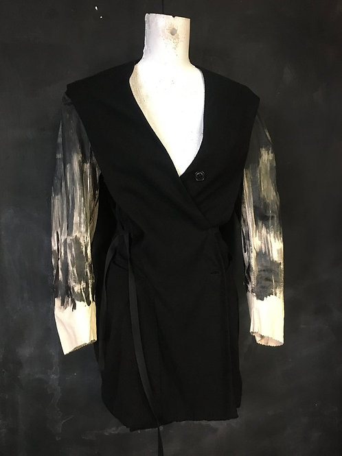 Damir Doma vest jacket leather wool unisex small medium reworked