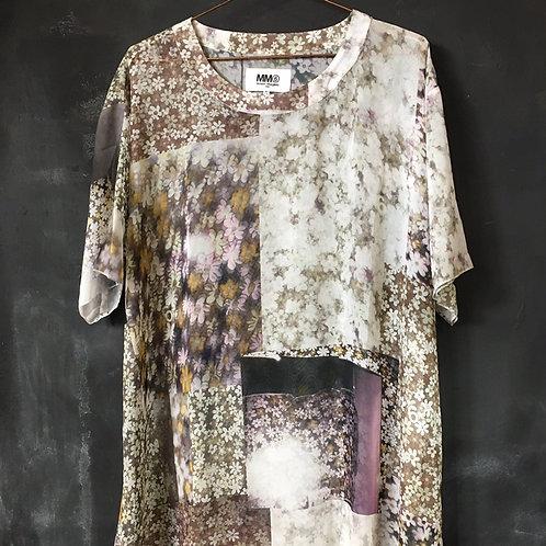 sheer Margiela dress XL tee pretty floral print new mm6 unisex trompe l'oeil