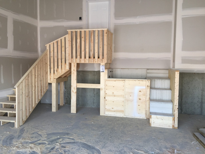 Garage stairs with custom dogwash