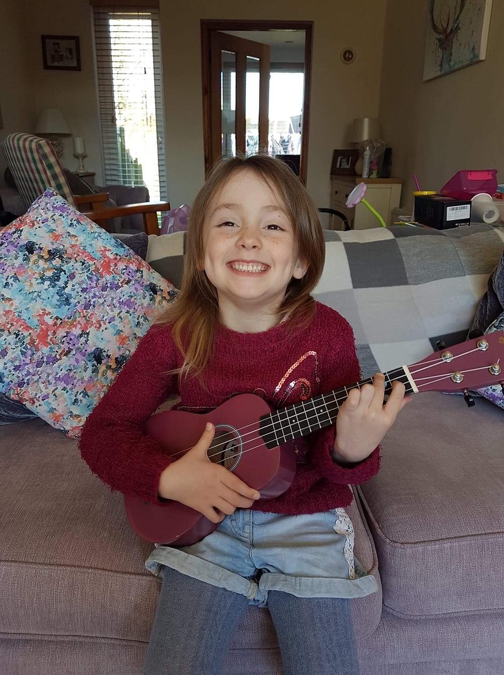 Music Lessons Angus ukulele and piano pupil - Naomi