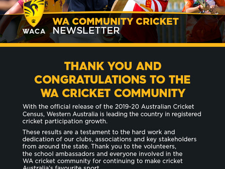 The latest WA Community Cricket news!