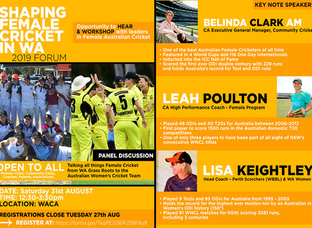 Shaping Female Cricket in WA Forum