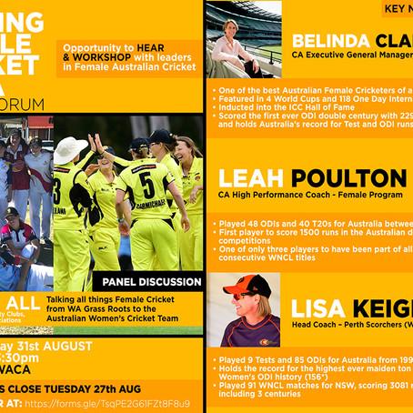 Shaping Female Cricket in WA Forum