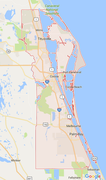 google map brevard county service area