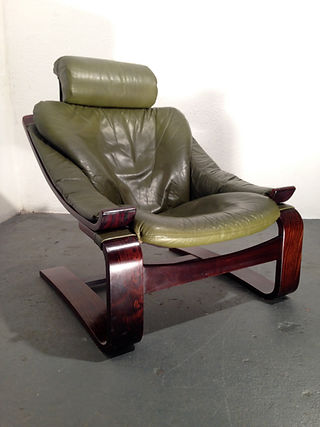 1970s scandinavian leather and rosewood Kroken chair