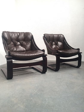 Ake Fribytter 1970s Scandinavian leather and rosewood lounge chairs, produced by Nello Möbel Sweden - OCD