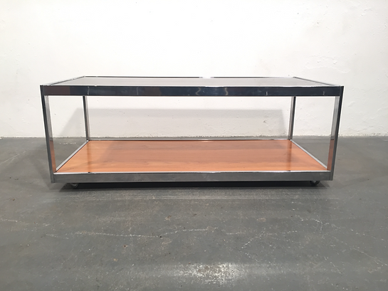 Howard Miller Chromed Steel, Teak and Smoked Glass Coffee Table in excellent condition - Vintage OCD