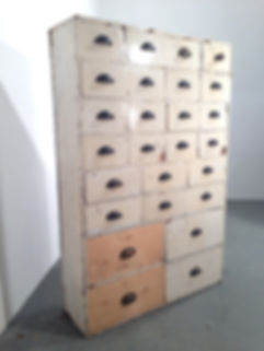 1930s original factory pine bank of drawers all hand made - in original condition
